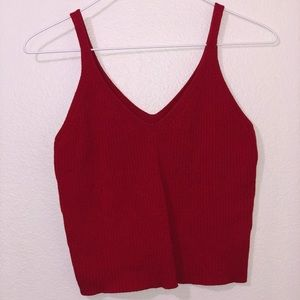 Red cropped tank